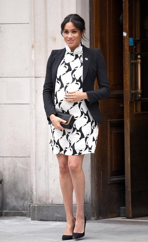 Meghan Markle steps out in a black-and-white mini dress ensemble