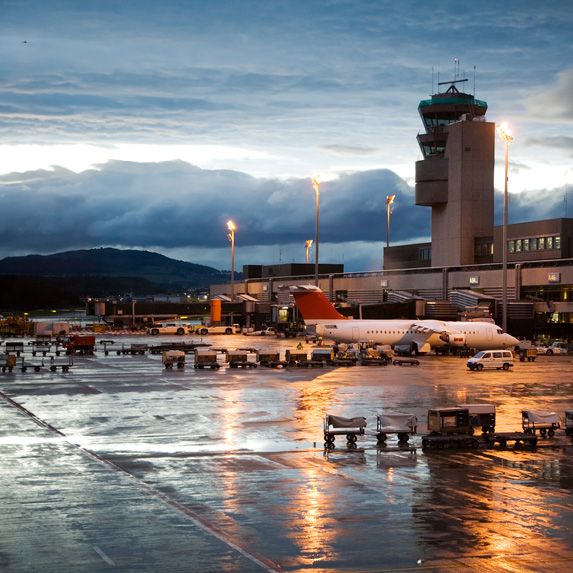 Airport on a stormy evening