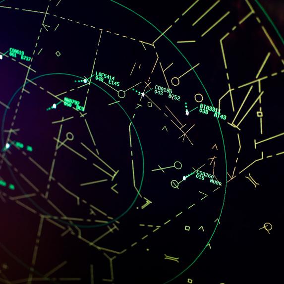 Flights on a radar screen