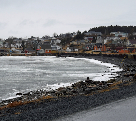 Ice-covered bay in the town of Dildo, Newfoundland in early spring