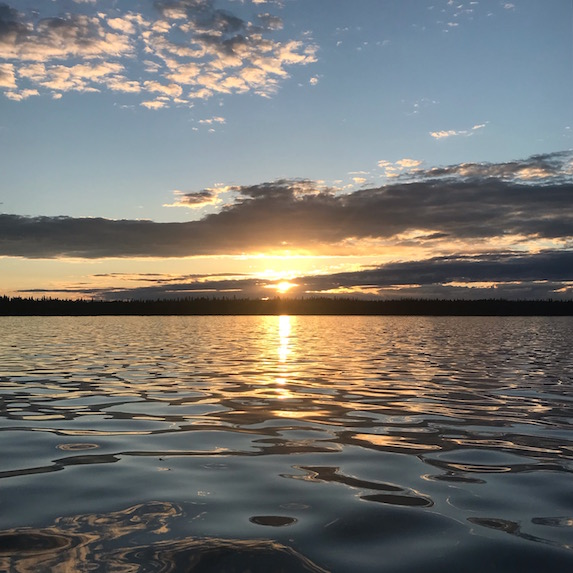 Sunset over the water in Flin Flon, Manitoba