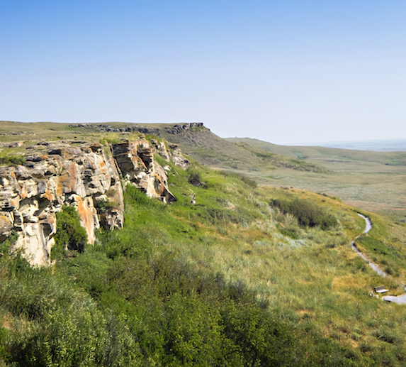 Scenic mountain shot at Head-Smashed-In Buffalo Jump, Alberta