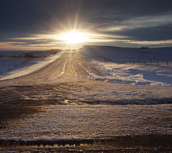 Winter highway in Moose Jaw, Saskatchewan