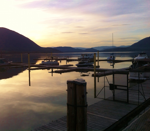 Lake against the sky during sunset in Salmon Arm, British Columbia
