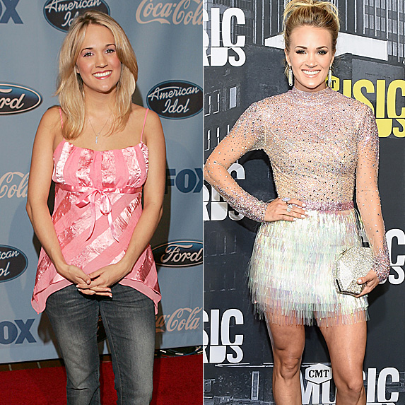 Carrie Underwood in 2005 and 2017