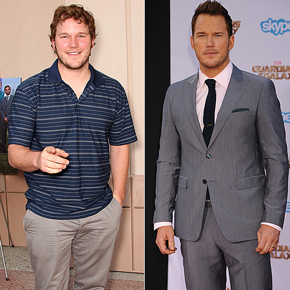 Chris Pratt in 2011 and 2014