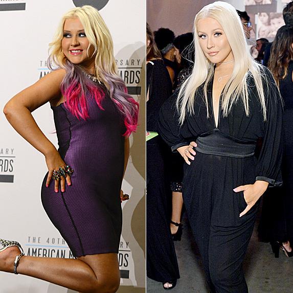 Christina Aguilera in 2012 and 2016