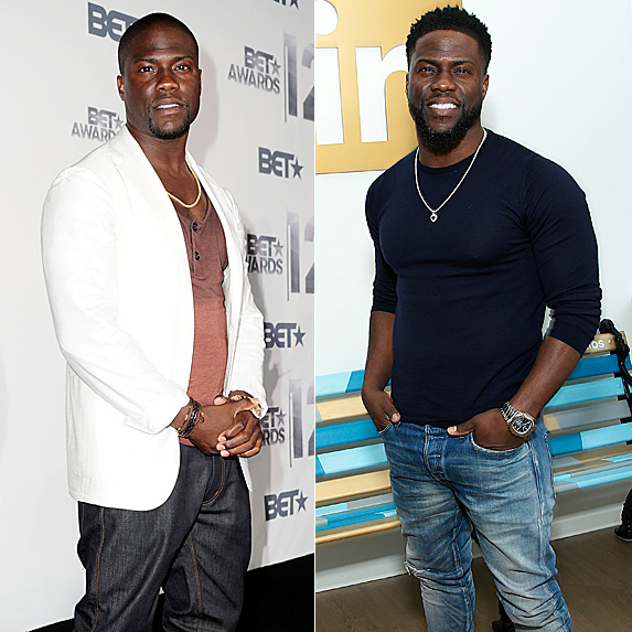 Kevin Hart in 2012 and 2019