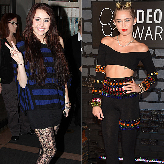Miley Cyrus in 2009 and 2013