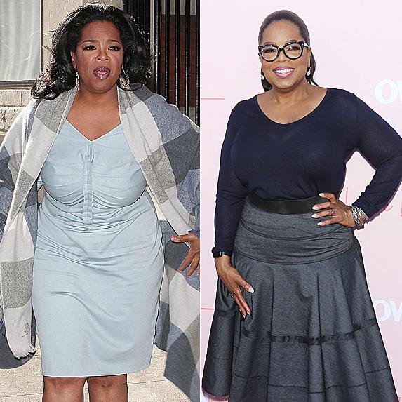 Oprah Winfrey in 2012 and 2018