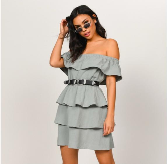 Model wears ruffle mini dress