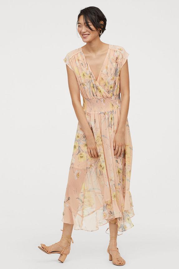 Model wears a floaty chiffon dress in floral print