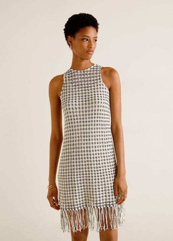 Model wears knit mini dress