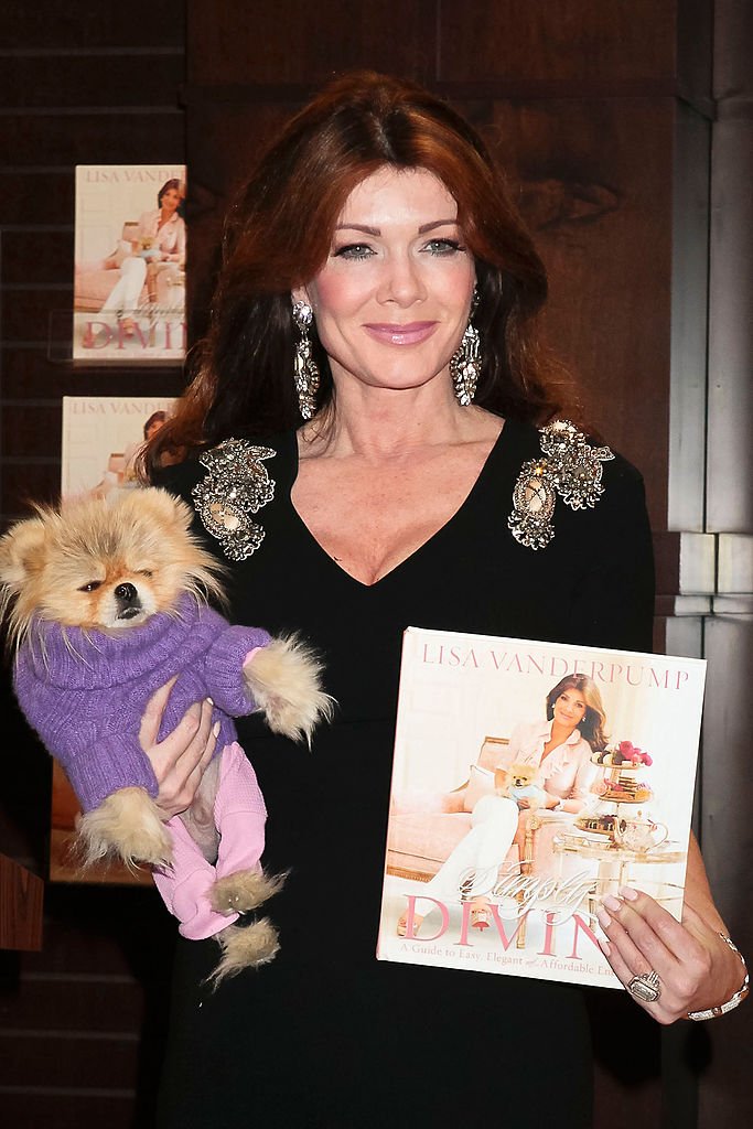 Lisa Vanderpump with her dog at book launch