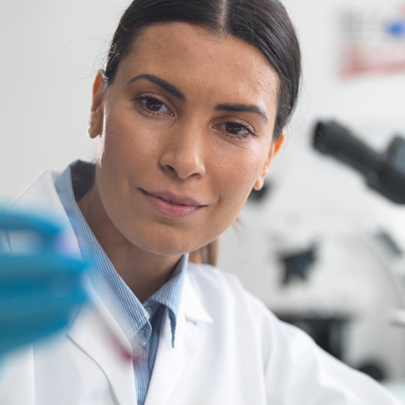 Medical microbiologist in the lab