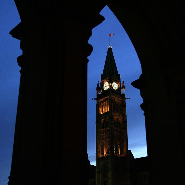 Parliament in Ottawa at dusk