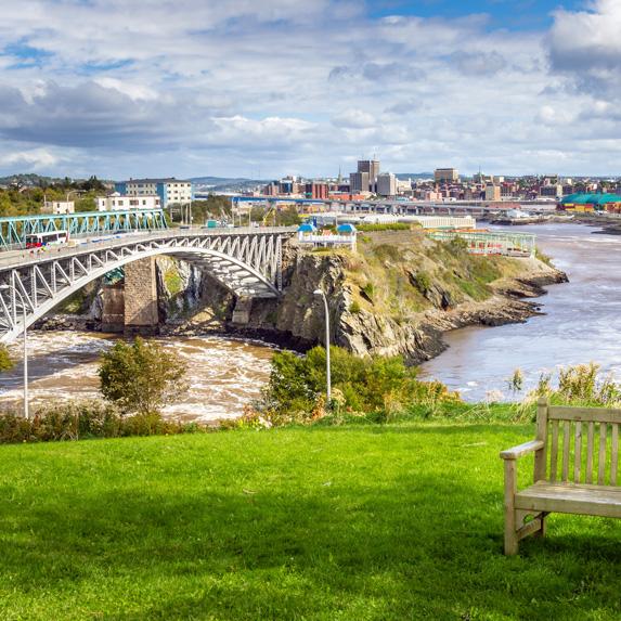 Saint John, New Brunswick, from a park near the Reversing Falls Bridge
