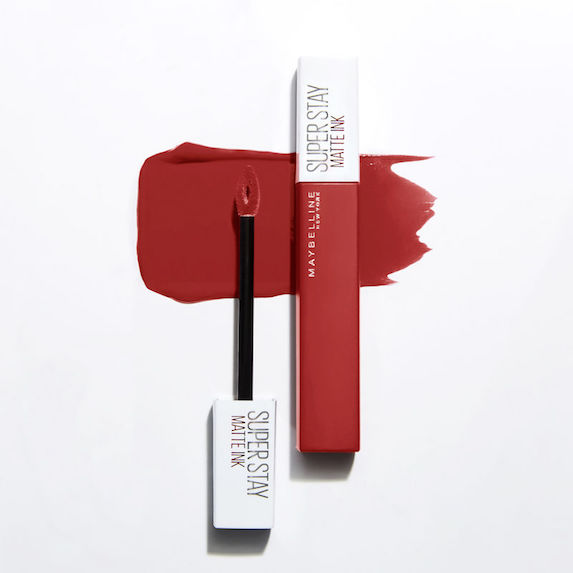 Red liquid lipstick and swatch from Maybelline