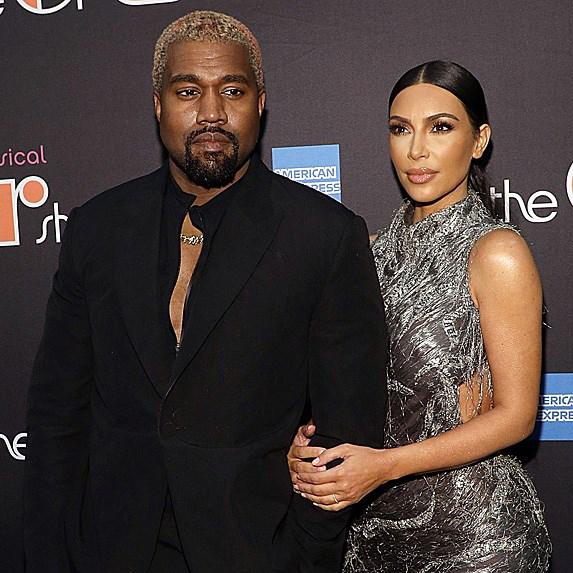 Kim Kardashian on the red carpet with husband Kanye West