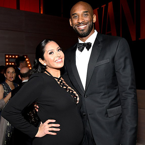 a pregnant Vanessa Bryant with husband Kobe Bryant