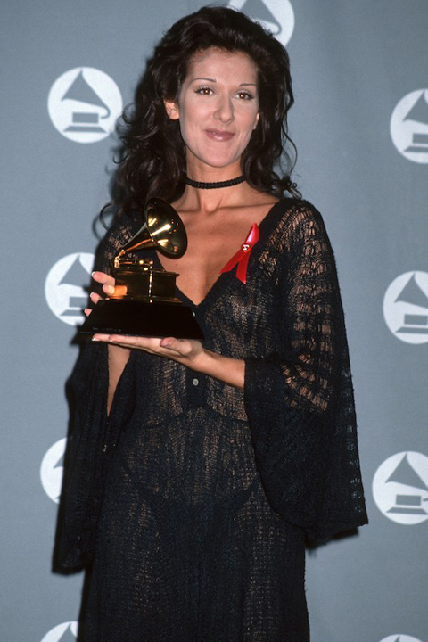 Celine Dion wears a sheer black gown to the 1993 Grammy Awards