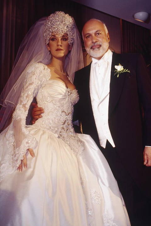 Celine Dion and Rene Angelil on their wedding day in December 1994