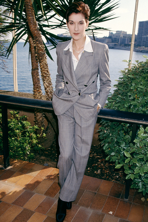 Celine Dion wears a grey suit and short hairstyle to the 1995 World Music Awards