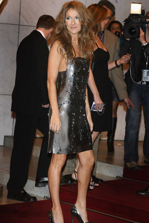 Celine Dion wears a sparkly mini dress to the 2007 World Music Awards