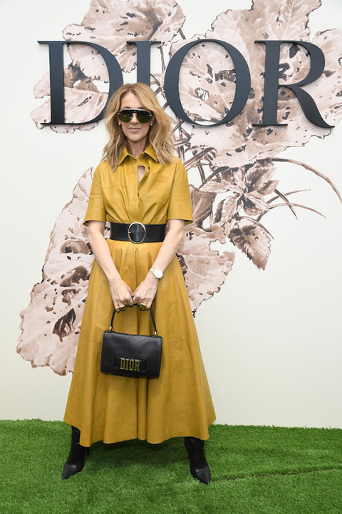 Celine Dion wears a belted yellow dress while attending a Dior fashion show in 2017