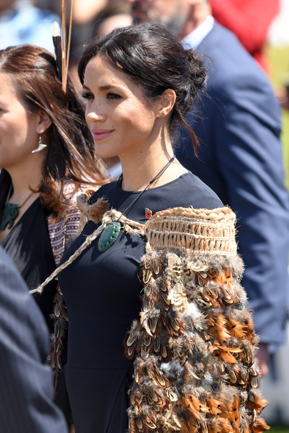Meghan, Duchess of Sussex visits Te Papaiouru Marae for a formal powhiri and luncheon on October 31, 2018 in Rotorua, New Zealand.