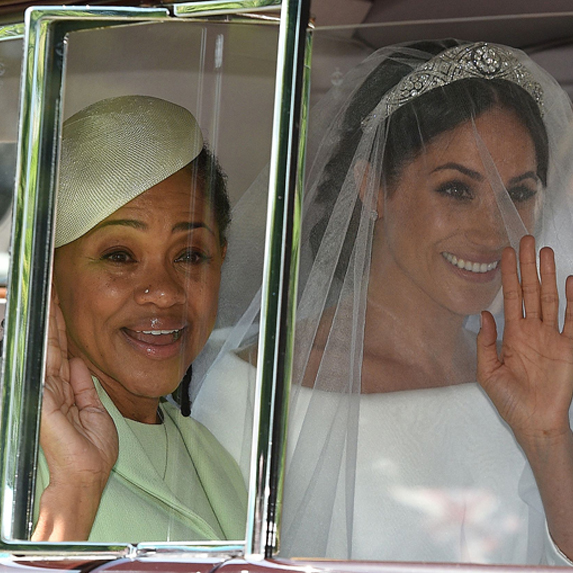 Meghan, Duchess of Sussex on her wedding day with mom Doria Ragland.