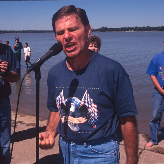 Kenneth Copeland making a speech at a biker rally