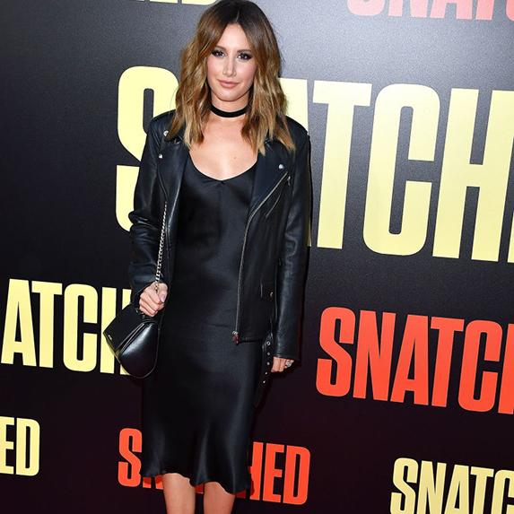 Ashley Tisdale in black slip dress