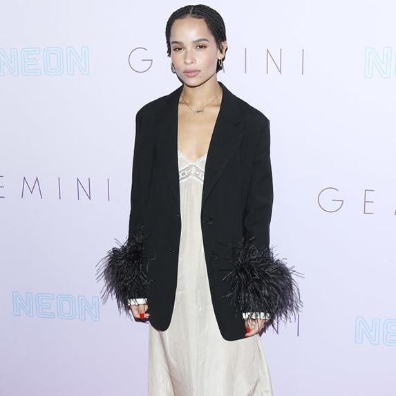 Zoe Kravitz wears neutral slip dress