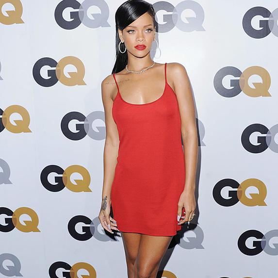 Rihanna in a red slip dress