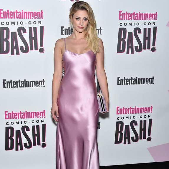 Lili Reinhart wears pink slip dress