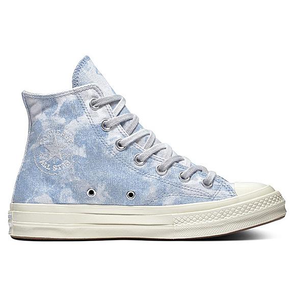 Blue tie-dye high-top sneakers