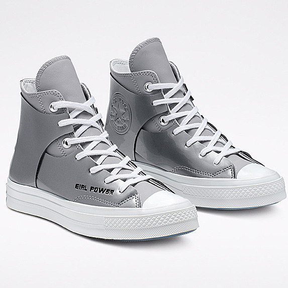 Silver high-tops with Girl Power stamped on them
