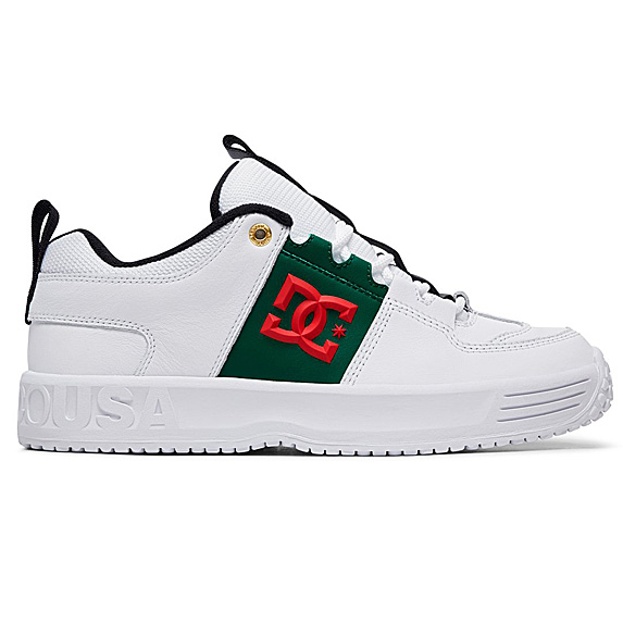 White sneakers with subtle green and red accents