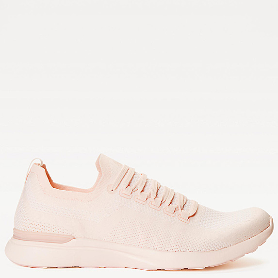 Nude-pink mesh slip-on sneaker with laces