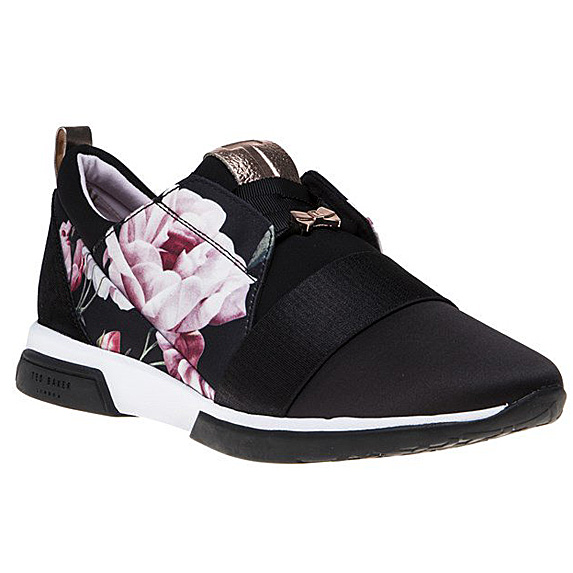 Black shoe with pink floral accents