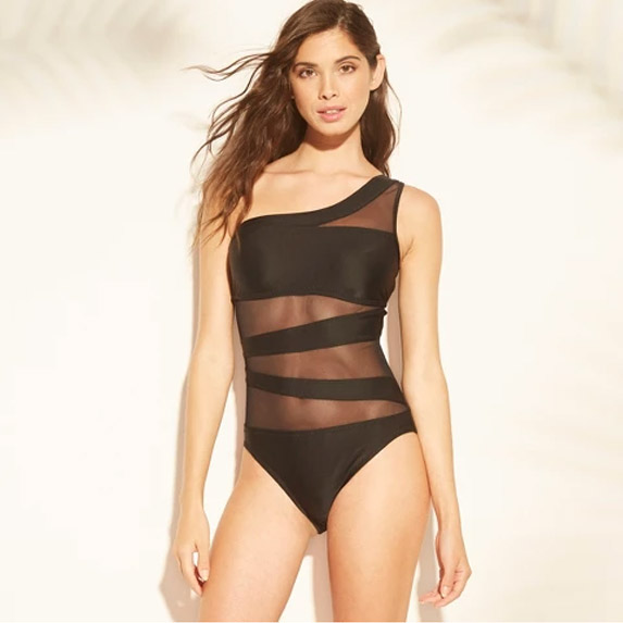 Sexy one shoulder mesh swimsuit