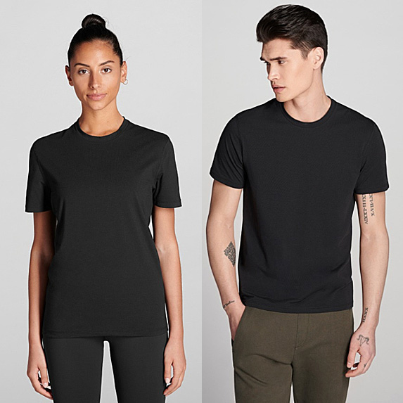 Woman and man wearing the same unisex t-shirt