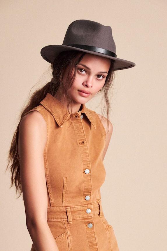 Model wears a fedora hat