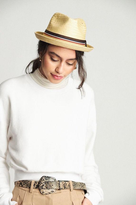 Model wears a fedora