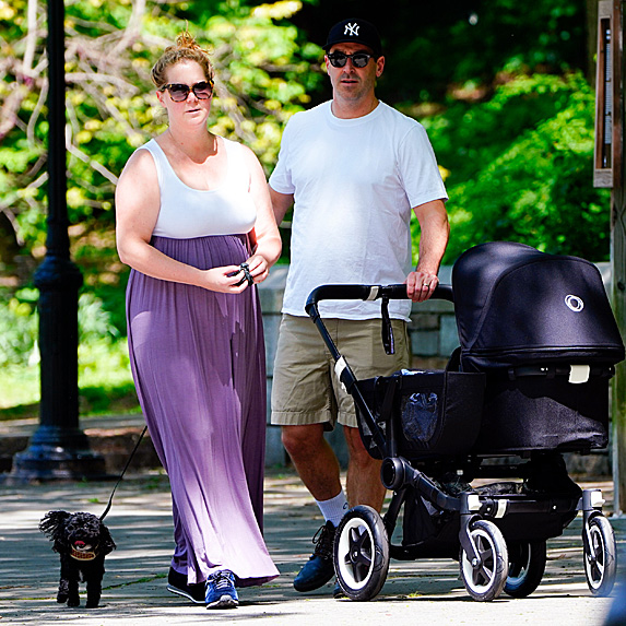 Amy Schumer and Chris Fischer pushing stroller while walking dog Tati