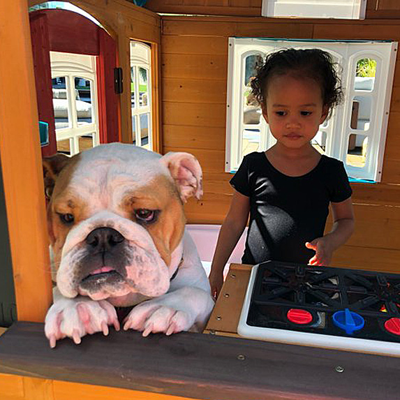 Chrissy Teigen's daughter Luna and dog Pepper