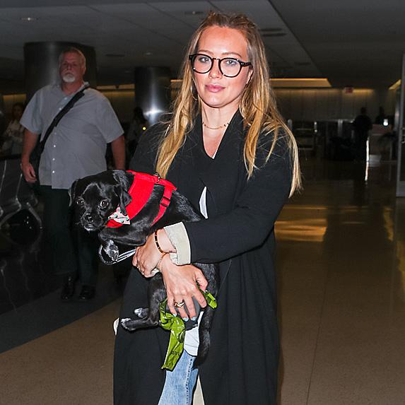 Hilary Duff carrying dog