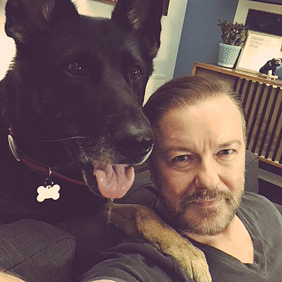 Ricky Gervais and dog Anti