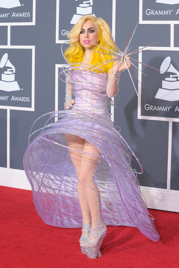 Lady Gaga attends 52nd Grammy Awards in 2010 wearing a galaxy-themed custom gown